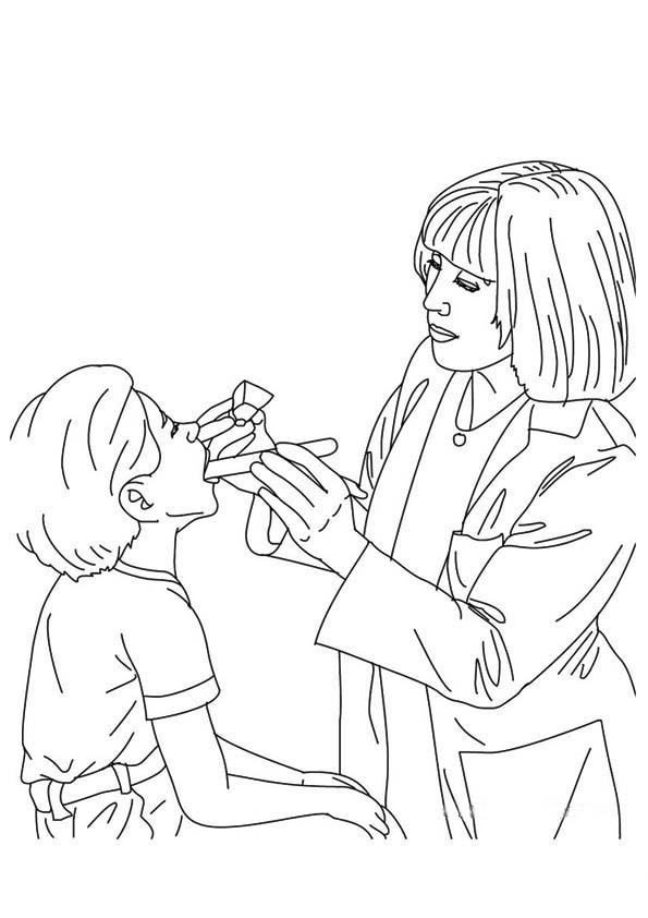 tranh tô màu bé làm bác sĩ tô màu bác sĩ